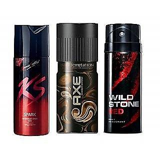 1 Ks + 1 Axe + 1 Wild Stone Deo Deodorants Long Lasting Body Spray For Men - 3 Pcs