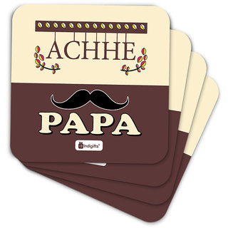 Indigifts Fathers Day Gifts Coaster MDF Brown 3.5x3.5 inches Set of 6