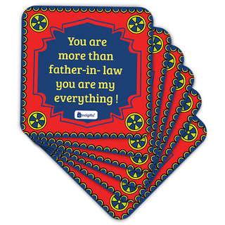 Indigifts Father-in-law Coaster MDF Red 3.5x3.5 inches Set of 6