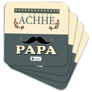 Indigifts Fathers Day Gifts Coaster MDF Gray 3.5x3.5 inches Set of 6