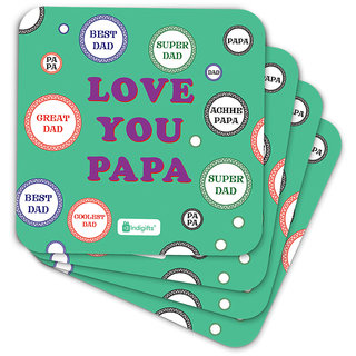 Indigifts Papa Gifts Coaster MDF Green 3.5x3.5 inches Set of 6