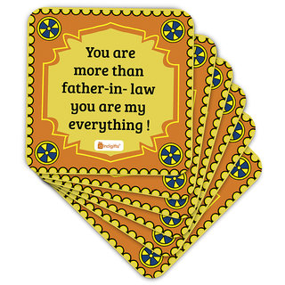 Indigifts Father-in-law Coaster MDF Yellow 3.5x3.5 inches Set of 6