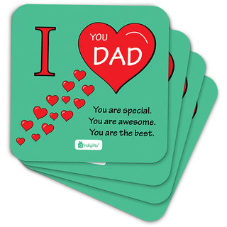 Indigifts Fathers Day Gifts Coaster MDF Green 3.5x3.5 inches Set of 6