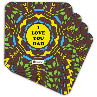 Indigifts Papa Gifts Coaster MDF Brown 3.5x3.5 inches Set of 6