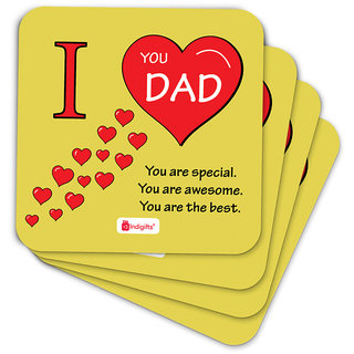 Indigifts Fathers Day Gifts Coaster MDF Yellow 3.5x3.5 inches Set of 6