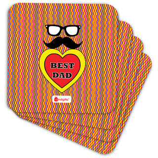 Indigifts Father Birthday Gifts Coaster MDF Multicolor 3.5x3.5 inches Set of 6