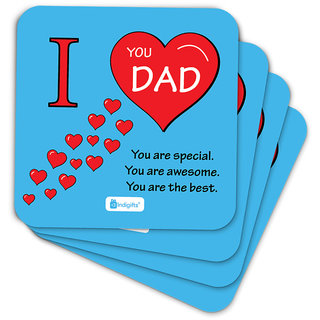 Indigifts Papa Gifts Coaster MDF Blue 3.5x3.5 inches Set of 6