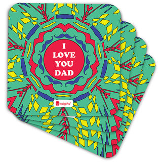 Indigifts Father Birthday Gifts Coaster MDF Green 3.5x3.5 inches Set of 6