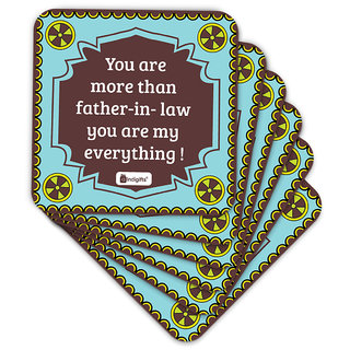 Indigifts Father-in-law Coaster MDF Blue 3.5x3.5 inches Set of 6