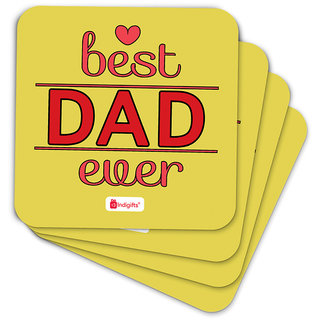 Indigifts Papa Gifts Coaster MDF Yellow 3.5x3.5 inches Set of 6