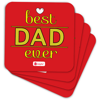 Indigifts Fathers Day Gifts Coaster MDF Red 3.5x3.5 inches Set of 6