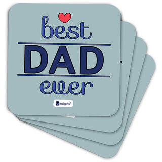 Indigifts Fathers Day Gifts Coaster MDF Grey 3.5x3.5 inches Set of 6