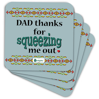 Indigifts Father Birthday Gifts Coaster MDF Grey 3.5x3.5 inches Set of 6