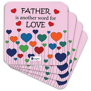 Indigifts Fathers Day Gifts Coaster MDF Pink 3.5x3.5 inches Set of 6
