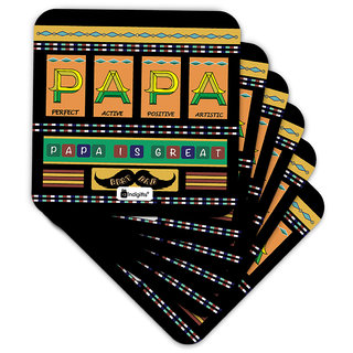 Indigifts Fathers Day Gifts Coaster MDF Black 3.5x3.5 inches Set of 6