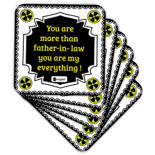 Indigifts Father-in-law Coaster MDF White 3.5x3.5 inches Set of 6