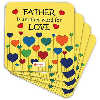Indigifts Father Birthday Gifts Coaster MDF Yellow 3.5x3.5 inches Set of 6