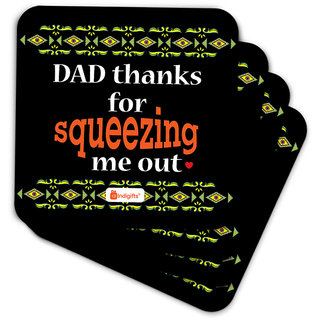 Indigifts Papa Gifts Coaster MDF Black 3.5x3.5 inches Set of 6