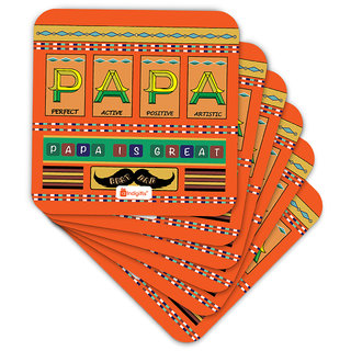 Indigifts Father Birthday Gifts Coaster MDF Orange 3.5x3.5 inches Set of 6