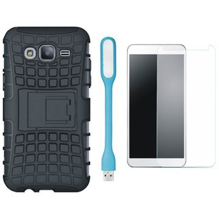 Vivo Y69 Shockproof Tough Armour Defender Case with Tempered Glas and USB LED Light