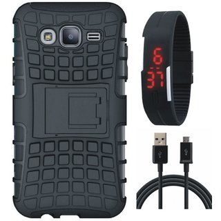 Vivo Y69 Shockproof Tough Armour Defender Case with Digital Watch and USB Cable