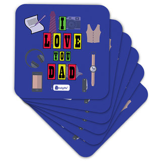 Indigifts Father Birthday Gifts Coaster MDF Blue 3.5x3.5 inches Set of 6