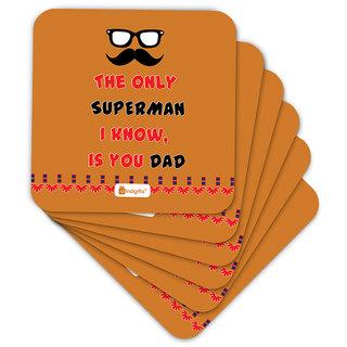 Indigifts Papa Gifts Coaster MDF Orange 3.5x3.5 inches Set of 6