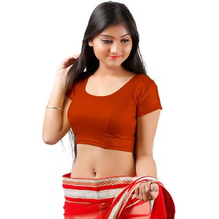 RB CREATION Round Neck Women Stitched Blouse_Dark Orange 34