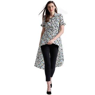 Texco Women Off White Bubble georgette Spread Collar Ruffled Printed Top