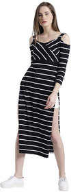 Texco Women Black & White Cotton jersey Sweetheart neck Cold shoulder sleeve Striped Top