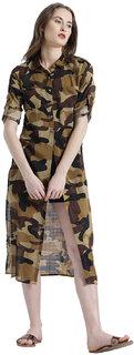 Texco Women Khaki & Black Poly dobby Spread Collar Cuffed Camouflage print Shirt