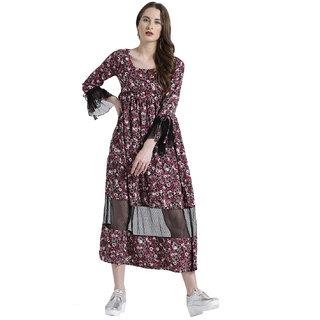 Texco Women Mauve Summer cool Scoop neck Ruffled Printed Dress