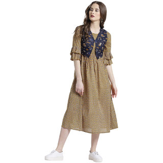 Texco Women Mustard Cotton Round neck 3/4 sleeve Printed Dress