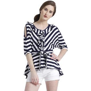 Texco Women Navy & White Viscose Round neck Kimono sleeve Striped Top