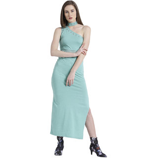 b668bf78357b Texco Women Mint Green Cotton jersey One shoulder Sleeve less Solid Dress