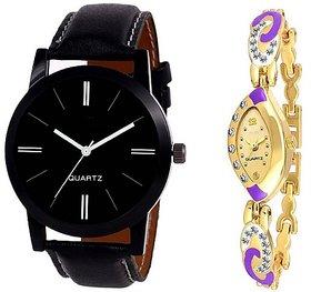 Varni Retail Black Dial Leather Belt Men And Purple Golden Mesh Strap Diamond Women Watch For Couple  BlackLoremPeurp