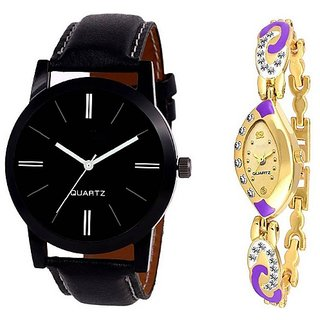 Varni Retail Black Dial Leather Belt Men And Purple Golden Mesh Strap Diamond Women Watch For Couple  BlackLoremPeurp