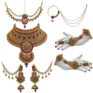 Lucky Jewellery Bridal Golden Red Color Alloy Gold Plated Wedding Jewellery Set
