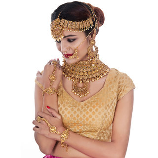 Lucky Jewellery Bridal Golden Color Alloy Gold Plated Wedding Jewellery Set For Girls  Women