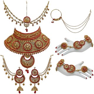 55f156a374232 Lucky Jewellery Bridal Golden Red Color Alloy Gold Plated Wedding Jewellery  Set For Girls & Women