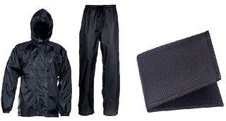 Unique Combo Of Black Rain Coat With Black Wallet (BMK-01)