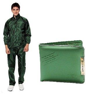 Green Rain Coat + Green Sport Wallet Combo