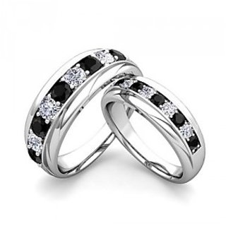 SILVERISH Forever Love Matching Alloy Couple Band Cubic Zirconia Rhodium Plated Ring Set