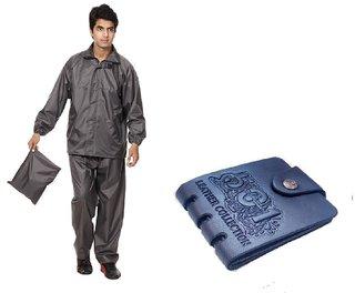 Combo Of Grey Rain Coat + Blue Pu Wallet For Men's