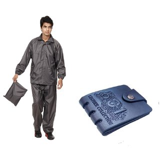 Combo Of Grey Rain Coat + Blue Pu Wallet For Mens