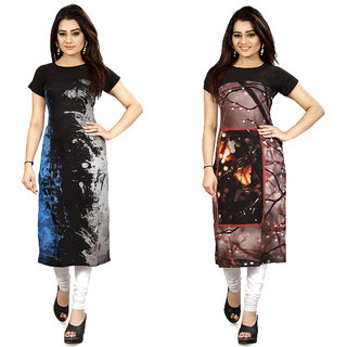Women's Digital Printed American Crepe Straight cut Kurti32/34