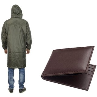 Green Knee Length Long Rain Coat + Brown Wallet (GSpr-02)