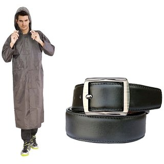 Grey Knee Length Long Rain Coat + Leatherite Black Belt Combo