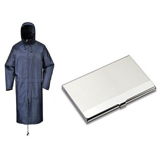 Blue Knee Length Long Rain Coat + Steel Card Holder Wallet For Mens