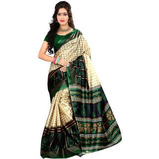 SVB SAREES Blue  Art Silk  Block Print Green and Beige Saree Without Blouse